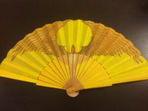 Yellow Bird Handpainted Spanish Fan