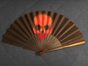 Red Skull Handpainted Spanish Fan