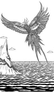 Fantasy bird in flight over an island