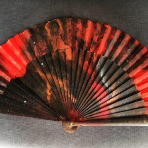 Red Galaxy Handpainted Spanish Fan