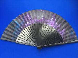 Purple Galaxy Handpainted Folding Fan