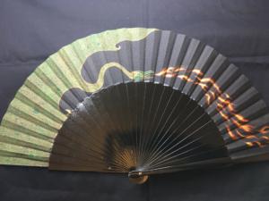 Green Dragon Handpainted Spanish Fan