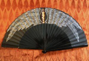 Aziraphale Handpainted Spanish Fan